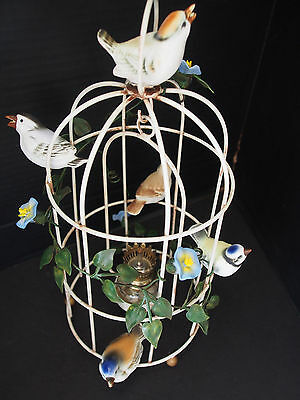 Vtg Petites Choses Tole 4 Birds Figures Cage Hand Painted Hang or Table Oil Lamp