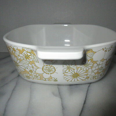 1969 Corning Ware P 1 1/2 B Floral Bouquet Yellow Casserole Dish No Lid 1.5-Qt