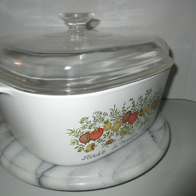 Vintage 5-Q Corning Ware Spice Of Life A-5-B Dutch Oven Casserole Dish Domed Lid