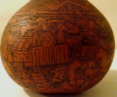 """Peruvian Folk Art  A 4"""" 'Finely Hand Carved Gourd -Shamans Incense LOT"""