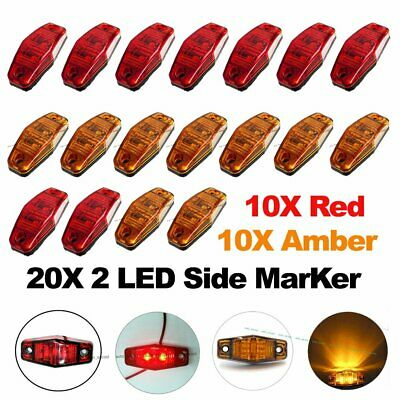 "10X Red 10X Amber LED Side Marker Light 2.5"" Clearance Truck Trailer Turn Light"