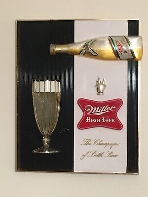 Vintage Miller High Life Sign 3D Bottle And Glass