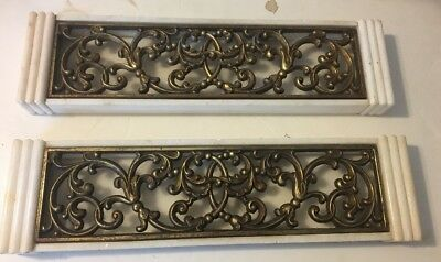 PAIR of DECORATIVE VTG ARCHITECTURAL MARBLE ELEMENT GILT METAL GRATE, 20TH C
