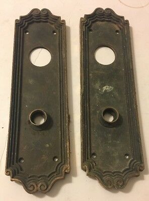 Pair Brass or Bronze Art Nouveau Door Lock Handle Plate Antique Victorian Swirl