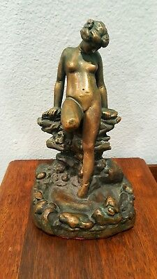 Elegant Antique / Vintage Statue Of A Beautiful Woman Resting On The Rocks!