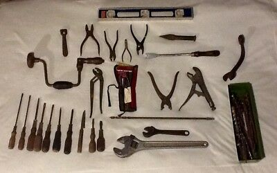 Huge Lot of Vintage / Antique Woodworking & Other Heavy Duty Steel Wooden Tools
