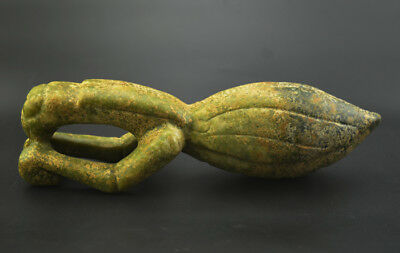 """Amazing Chinese Hongshan Culture Ancient Green Jade Carved Mantis Statue 10.82"""""""