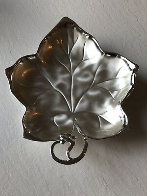 Vintage WMF IKORA Silver Plated Leaf Shaped Footed Bowl Dish Grapes Germany