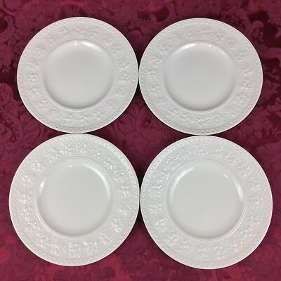 """Wedgwood Wellesley Embossed Cream FOUR 9 1/2"""" Luncheon Small Dinner Plates"""