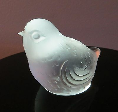 Signed Baccarat Clear Frosted Crystal Glass Sparrow Bird Paperweight Figurine