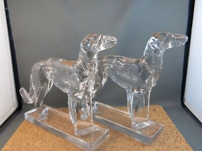 """Antique Clear Glass Art Deco Russian Wolfhound Borzoi Bookends Dog Figurine 7.5"""""""