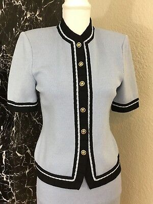 ST.JOHN Collection by Marie Gray Womens Knit Blue Black Suit Jacket & Skirt Sz 2