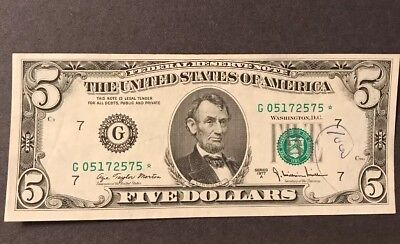 Circulated $5 Series 1977 A *STAR* Federal Reserve Note - CRISP!