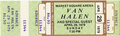 Van Halen Vintage Unused Concert Ticket April 29, 1979 (Advance) Indiana, Mint