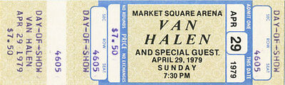 Van Halen Vintage Unused Concert Ticket - April 29, 1979 (Day of Show) Indiana