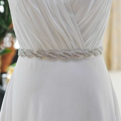 "Handmade Crystal Bridal Sash with Satin Ribbon for Wedding Prom Dress(Width: 1"")"