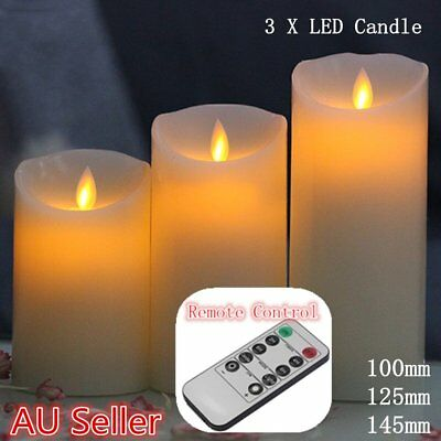 3X Remote Control Led Soft Flameless Flickering Flame Candles Pillar Church Mr5F