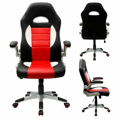 Gaming Chair Racing Computer Chairs PU Leather Swivel Office Desk Bucket Seat US