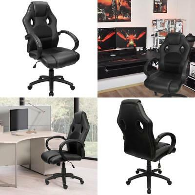 Black Chair PU Leather Racing Gaming Office Swivel Wheels Desk Computer Chairs