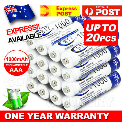 4-20X BTY AAA Rechargeable Battery Recharge Batteries 1.2V 1000mAh Ni-MH AU