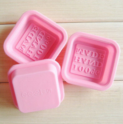 Pink Square 100% Hand Made Words Silicone Soap Molds DIY Making Mould 1 PCS 50G