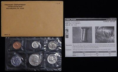 1964 Accented Hair Proof 50C Kennedy Silver Half Dollar Ogp Complete Set Fs-401