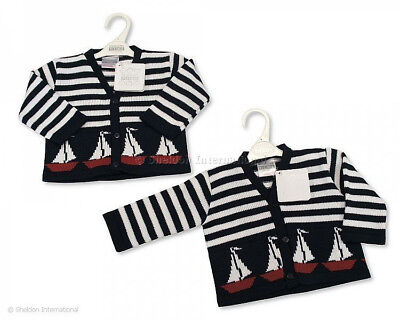 Baby Boy's V-Neck Knitted Sailboat Design Cardigan Nursery Time