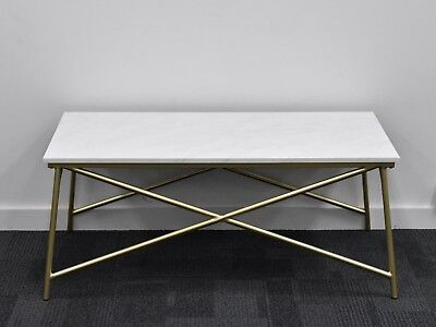 Coffee Table, Stand, gold frame with marble look