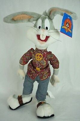 "Bugs Bunny Plush Hippie Peace Sandals 1990s Looney Tunes 18"" New"