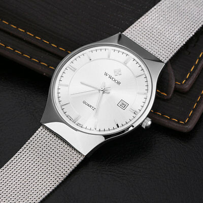 WWOOR Super Thin Simple Quartz Watches Casual Waterproof Quartz Watch FK