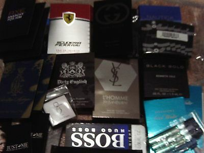LOT OF 30  MENS COLOGNE SAMPLES - DESIGNER BRAND VERY NICE-ysl,gucci,versace