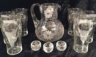 Clear Glass Floral Etched Pitcher & 6 Glasses & 3 Salts