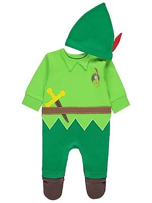 Baby Boys Disney Peter Pan All in One with Hat Fancy Dress Size 0-18 Months