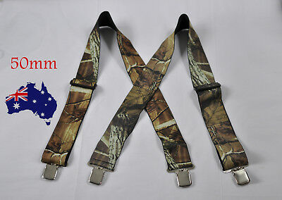 MEN BRACES SUSPENDERS CAMOUFLAGE ARMY GREEN 50mm Wide WORK HEAVY DUTYBRACES