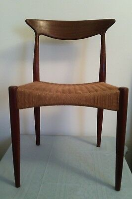 Four Arne Hovmand Olsen for Mogens Kold, Teak and Cord Dining Chairs