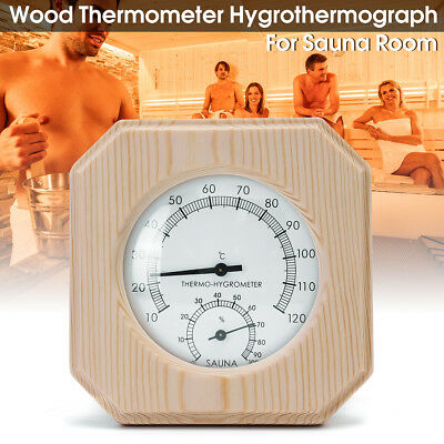 Wood Thermometer Hygrothermograph Thermometer Hygrometer Humidity Sauna Room