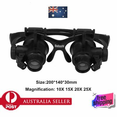 10X 15X 20X 25X LED Glasses Jeweler Magnifier Watch Repair Magnifying Loup FK
