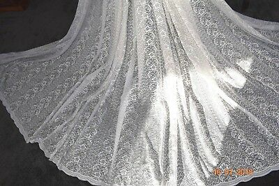 VINTAGE MASSIVE FRENCH LACE CURTAIN SILVER THREAD 192 ins wide 96ins drop SUPERB