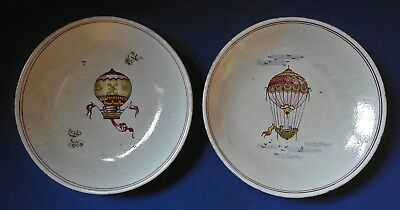 Pair Of French Faience Wall Plates - Hot Air Balloons - Mid 20Th Cen