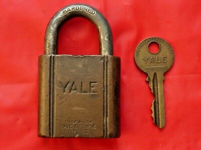 Antique Brass Yale & Towne Ordnance Corps U S Army Padlock With Key!