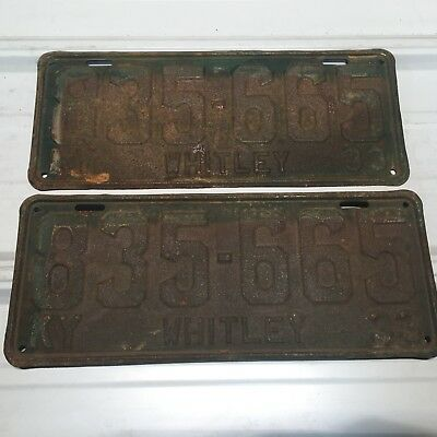 Kentucky 1933 license plate pair # 335-665 whitley county