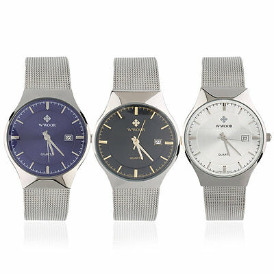 WWOOR Casual Waterproof Mechanical Watch Super Thin Simple Quartz Watches FK