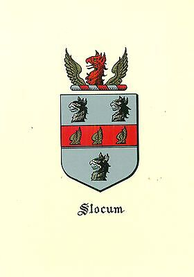 Great Coat of Arms Slocum Family Crest genealogy, would look great framed!