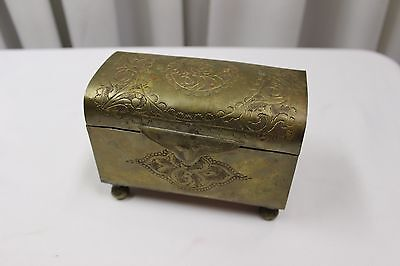 Ornate Vintage Decorative Brass & Copper Box Opium Box