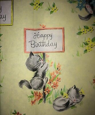 Vintage Kitty Cat, BIRTHDAY-ALL OCCASION Gift Wrap-Wrapping heavy tissue Paper