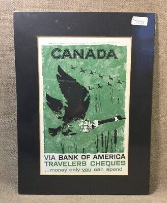 Vintage 1947 Canadian Geese Bank Of America Travelers Cheques Add Art Print