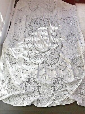 Stunning Vintage Antique White Fieldcrest Lace Tablecloth Heavy Dense Cotton