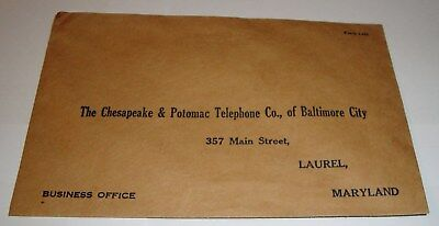 Vintage @ 1930s C&P Telephone Company Laurel Maryland Envelope 135 miles for 45c