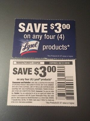 5 Coupons $3/4 Lysol Products ANY 4 Products Cleaning