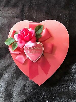 Vintage Valentine 1976 Russell Stover Candies Pink Satin Heart Box